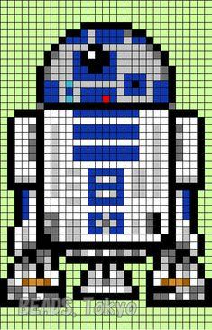 R2D2 Star Wars  Perler Bead Pattern - BEADS.Tokyo