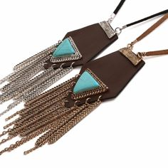 Leather Tassel Necklace Long Rope Turquoise Sweater Necklace