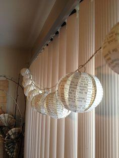 Book page ornament garland/ornament/vase decor