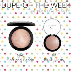 "Is there anything that elf can't dupe? I think not The much loved MAC Mineralize Skin Finish in ""Soft and Gentle"" ($32) is a higher end version of the elf Baked Highlighter in ""Blush Gems"" ($3). Infact, Blush gems is more finely milled and hence goes on smoother than the MAC Soft and Gentle which can be a little chunky sometimes. Soft and gentle is also a tad bit less reflective as compared to Blush Gems. If you're looking for affordable highlighters make sure to check out elf highlighte..."
