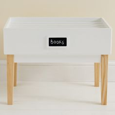 This fab bookcase takes the shape of a library table that's designed to help younger children flick through their books easily. Bookshelves, Bookcase, Cool Desk Accessories, Kids Play Table, Library Table, Study Desk, Toy Chest, Storage Chest, Cabinet