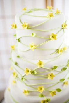 Yellow Jasmine and Spring Green Wedding Cake