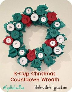 Christmas Countdown Calendar This is a great Holiday advent calendar wreathe made out of K-Cups.This is a great Holiday advent calendar wreathe made out of K-Cups. Christmas Cup, Christmas Bells, Christmas Holidays, Christmas Ornaments, Christmas Stuff, Family Christmas, Easy Crafts For Kids, Christmas Crafts For Kids, Holiday Crafts