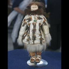 American Indian Doll, ca. 1910 St Lawrence Is Alaska gut parka crested auklet beak decorated polar beartrim