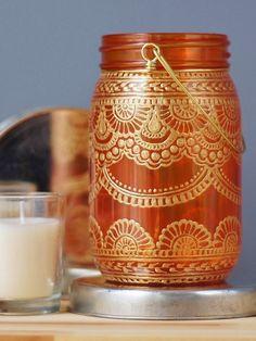 Bohemian Mason Jar Lantern, Tangerine Glass with Gold Detailing