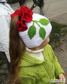 White Ponytail Hat with Flower free crochet graph pattern. It just hit me: Why crochet an entire hat, when I could start with a ready-made and re-style it? Bonnet Crochet, Crochet Baby Hats, Crochet Beanie, Knit Or Crochet, Crochet For Kids, Crochet Crafts, Yarn Crafts, Crochet Clothes, Crochet Projects
