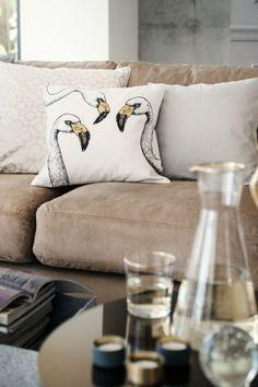 Housse de coussin - Blanc/flamant rose - Home All   H&M FR