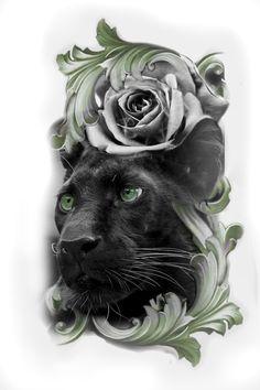 Hip Tattoos Women, Leg Tattoos, Arm Band Tattoo, Sleeve Tattoos, Black Panther Tattoo, Panther Tattoos, Cover Up Tattoos, Tattoo Drawings, Old School Tattoo Designs