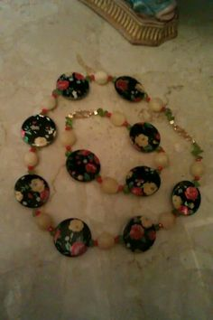 Handmsde 50's inspired real gem nevklace £27 & bracelet £15