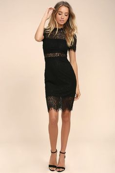 The Remarkable Black Lace Dress is the perfect LBD for any occasion! Midi sheath dress with partial lining creates a cool two-piece look. Dresses For Teens, Club Dresses, Day Dresses, Dresses Online, Trendy Dresses, Occasion Dresses, Casual Dresses, Formal Dresses, Black Women Fashion