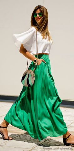 Women' s fashion | Vaporous white top, green maxi skirt, flats