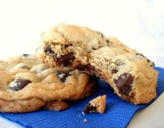 Thick, Soft, and Chewy Chocolate Chip Cookies. Half shortening, half butter