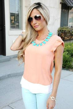Pretty spring outfit! mint necklace and  pant with peach tee