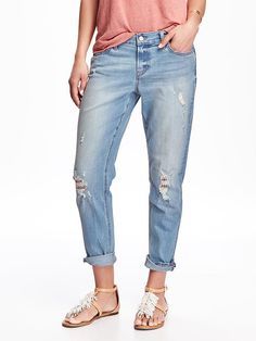 Distressed Boyfriend Skinny Jeans for Women Product Image