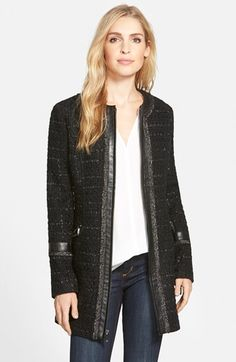 Laundry by Shelli Segal Ribbon Trim Tweed Coat (Regular & Petite) | Nordstrom