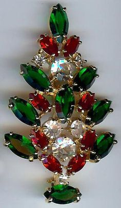 Eisenberg Ice Vintage Bright Rich Red Green Clear Rhinestone Christmas Tree Pin