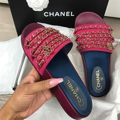 128ca94329b Chanel    Shoes Chain Slippers Silk Satin Sandals from Bailianyi.