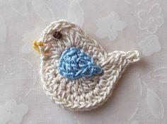 Crochet Bird Applique--Ecru and Blue