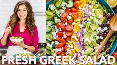 Fresh & Healthy Greek Salad Recipe + Dressing – Natasha's Kitchen - Salad Greek Salad Ingredients, Greek Salad Recipes, Easy Salad Recipes, Vegetarian Recipes, Recipe For Greek Salad, Cucumber Feta Salad, Avocado, Vinaigrette, Kitchen Recipes