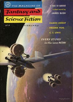 The Magazine of Fantasy and Science Fiction, February 1956, cover by Chesley Bonestell.
