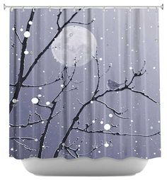 Snowbird Blue Grey Shower Curtain - contemporary - Shower Curtains - DiaNoche Designs