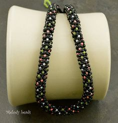 Chenille stitch in more than two colours! Bead Woven Chenille Stitch Necklace in Shades of Black, Lime and Orange