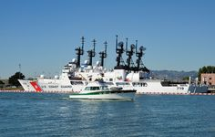 Three US Coast Guard high-endurance cutters, built in USCGC Boutwell USCGC Morgenthau and USCGC Sherman at Coast Guard Island, Port of Alameda, California, August 2010 Coast Guard Boats, Coast Guard Ships, Navy Coast Guard, Us Military Branches, Coast Gaurd, Military Life, Military Ranks, Coast Guard Cutter, Offshore Boats