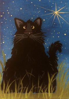 CAT ACEO - Black Cat under the Stars  - by Pryjmak