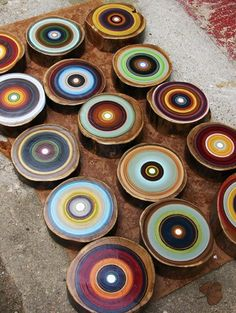 """""""Tree Ring"""" paintings on sliced red elm by Tracy Melton.  Oh....I could so see these hung in an arrangement on our high entry wall!  Love the colors"""