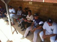 Team Wizards in the third base dugout at the Hall of Fame Classic Legends Game in Cooperstown, NY.