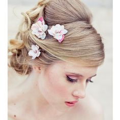 Wedding Hair Accessory Set of Three Flower Bobby Pins in Ivory and Pink Perfect for Brides or Brides