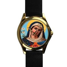 Popular Sacred Virgin Mary,Catholic Religious Unisex Silver-tone Round Leather Metal Watch ** Trust me, this is great! Click the image. : Travel Gadgets