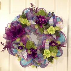 Purple Deco Mesh Wreath   Spring Purple/green deco mesh wreath   WREATHS..
