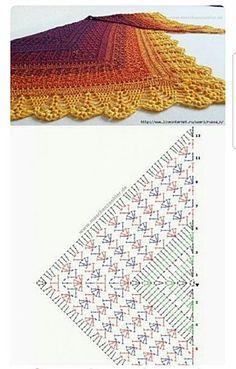 Crochet Powder Shawl - Summer Cotton Shawl - Hand Knit Lacy Wrap - Ready To Ship Crochet Shawl Diagram, Crochet Chart, Easy Crochet Patterns, Crochet Stitches, Crochet Shawls And Wraps, Crochet Scarves, Crochet Clothes, Triangle En Crochet, Confection Au Crochet