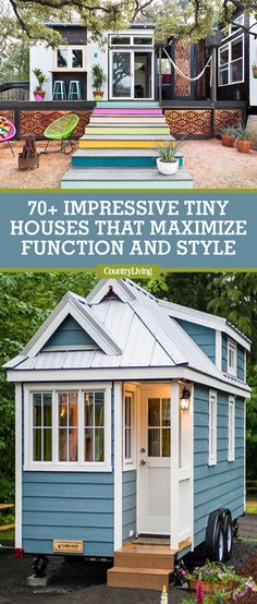 The tiny house movement isn't necessarily about sacrifice. Check out these small house pictures and plans that maximize both function and style! These best tiny homes are just as functional as they are adorable. Little Houses, Tiny Houses, String Lights In The Bedroom, Craftsman Cottage, Tiny House Storage, Small Cottages, Pink Home Decor, Small Buildings, Tiny House Movement