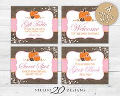 "Instant Download Burlap Girl Pumpkin Baby Shower Party Signs by Studio20Designs. These 8""x10"" printable pink autumn pumpkin decorations (all four signs included) keep your party coordinated while helping to navigate your guests around your party area!"