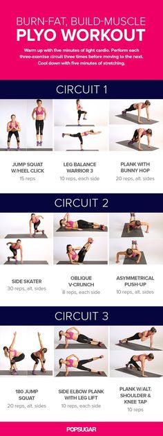 Build-Muscle Plyo Workout Add some jumping to your workout to burn even more calories while building muscle. That's why we love plyometrics.Add some jumping to your workout to burn even more calories while building muscle. That's why we love plyometrics. Fitness Workouts, Plyo Workouts, Fitness Motivation, Sport Fitness, At Home Workouts, Fitness Tips, Health Fitness, Plyometric Workout, Body Workouts