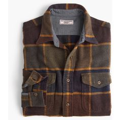 J.Crew Wallace & Barnes heavyweight flannel shirt in brown plaid ($98) ❤ liked on Polyvore featuring men's fashion, men's clothing, men's shirts, men's casual shirts, mens flannel shirts, mens flannel plaid shirts, mens textured t shirt and mens tartan shirt