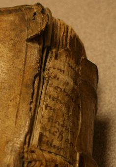 Recycling manuscript waste was common practice in early modern bookbinding. The damage on this copy of Thucydides' 'Peloponnesian War' allows us to see an example - the manuscript used here is written in a form of Gothic, probably been the 13th and 15th centuries.  http://www.lib.muohio.edu/multifacet/record/mu3ugb4216824