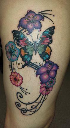 Thigh tattoo, women with tattoos, flowers, butterfly, girly, pretty, swirls, feminine, tattoos