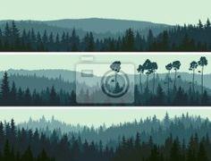 Wall mural horizontal banners of hills coniferous wood. - hills • PIXERSIZE.com
