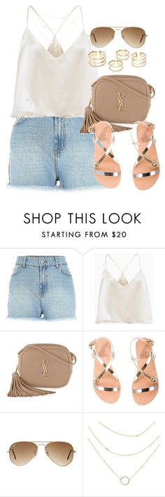 """""""Style #10674"""" by vany-alvarado ❤ liked on Polyvore featuring Yves Saint Laurent, Ancient Greek Sandals and Ray-Ban"""