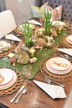 Green and Blush Pink Easter Table Setting - Home with HollidayYou can find Easter table and more on our website.Green and Blush Pink Easter Table Setting - Home with Holliday Easter Table Settings, Easter Table Decorations, Setting Table, Easter Decor, Easter Ideas, Spring Decorations, Centerpiece Ideas, Table Centerpieces, Easter Centerpiece