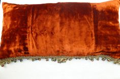 Antique+French+silk+velvet+boudoir+pillow+cushion+with+trim,+handmade+pillow+for+home+decor.+Vintage+silk+velvet+pillow+13,5x26,5+from+1800.+by+AntiquePillows+on+Etsy