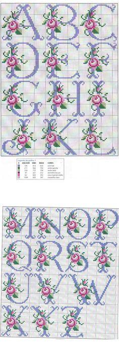 ::Ponto de Cruz | Desenhos |Gráficos:: Monogram Cross Stitch, Tiny Cross Stitch, Cross Stitch Alphabet, Cross Stitch Designs, Stitch Patterns, Christmas Embroidery Patterns, Hand Embroidery Patterns, Ribbon Embroidery, Cross Stitch Embroidery