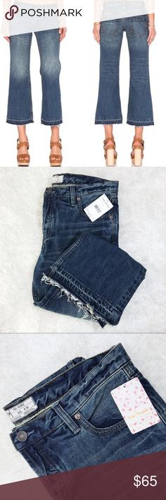 NWT Free People Kick Flare Distressed Hem Jeans Boyfriend style, distressed/released hem, 5 pocket, faded washed denim. 100 % COTTON! APPROX 30in waist (more like 32/34inches), 19in hip, 9.5in rise, 25in inseam, 9.75 width of hem. New w/tags! Free People Jeans Ankle & Cropped