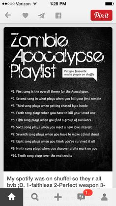 1. Nicotine, P!ATD, 2. Fourth of July,FOB, 3. This is Gospel, P!ATD, 4. Picture perfect, ETF......