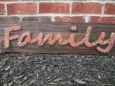 String Art Family, Word, Nail and String Art, Wall Decor, Nursery Decor