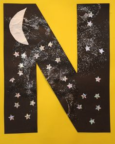 N is for Night Sky Letter Recognition Activities. Letter N Craft and Night Sky Playdough from Fantastic Fun and Learning Letter N Activities, Preschool Letter Crafts, Alphabet Letter Crafts, Abc Crafts, Classroom Crafts, Preschool Activities, Letter Tracing, Letter Art, Crafts For Letter A