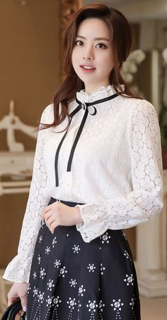 StyleOnme_Ribbon Tie Frill Neck Lace Blouse #ivory #lace #feminine #frill #blouse #stylish #koreanfashion #kstyle #kfashion #springtrend #seoul #dailylook